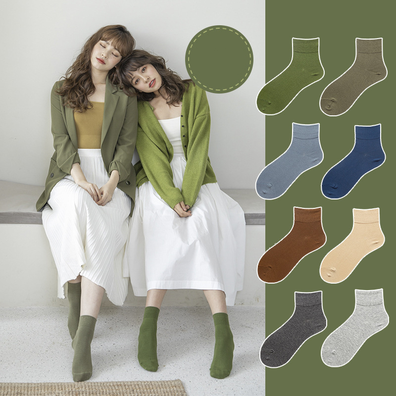 Multicolor Long Socks Women's Breathable Sweat-absorbent Anti-friction Cotton Socks Female Personality Wild Color Socks Women