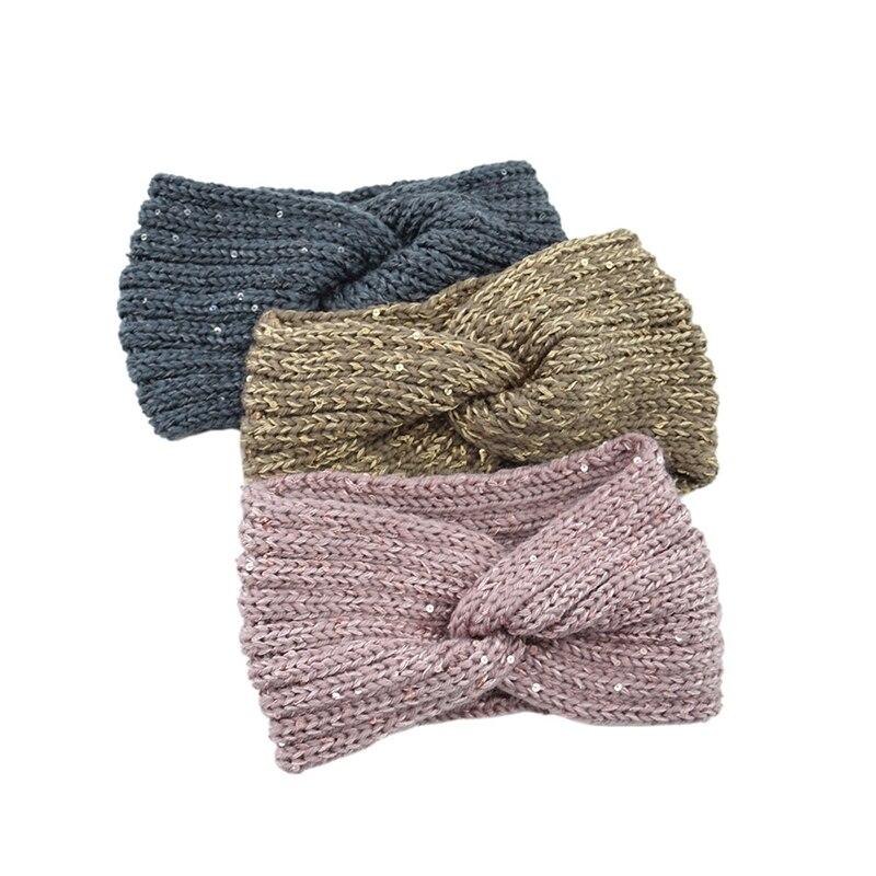Pailletten Gestrickte Kreuz Verknotet Stirnband Für Frauen Winter Ohr Warme Turban Kopf Wrap Warm Haarbänder Stretchy Mädchen Haar Zubehör
