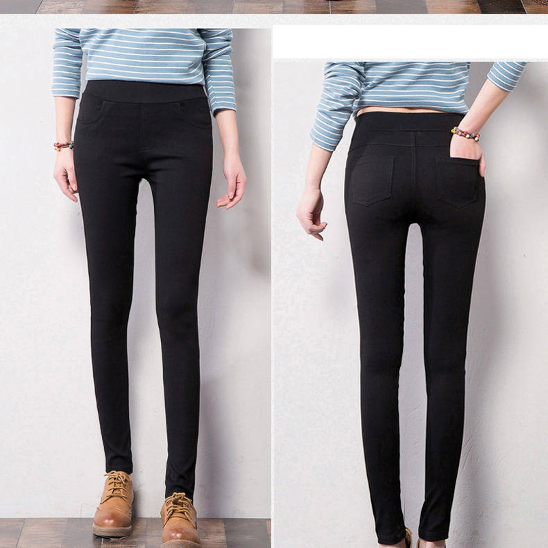 Bella Philosophy 2019 Autumn Winter Women Pencil Pants Slim Elastic Small Jeans Pants Fleece Nine Points Trousers Black Leggings 5