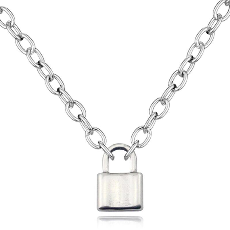 Stal nierdzewna kolor srebrny kłódka naszyjnik Brand New Rolo kabel łańcuch naszyjnik choker ras du cou collier femme kobiet