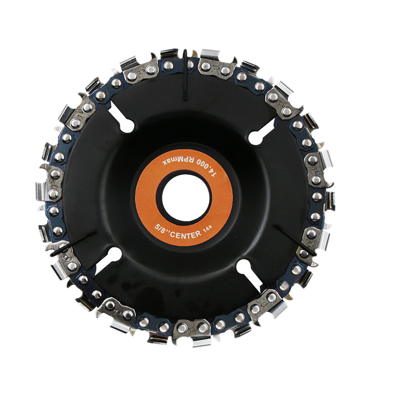 22 Tooth 4 Inch Orange Grinder Disc And Chain Fine Cut Chain Set For 100/115 Angle Grinder Woodworking Carving Grinding And Cutt