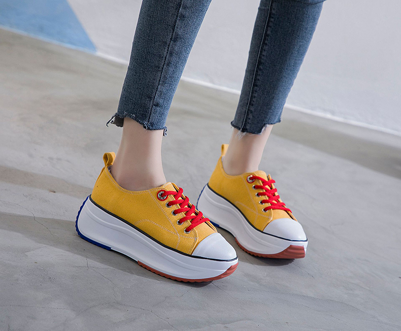Womens Round Toe Wedge Heels  Platform  Sneakers Canvas Shoes