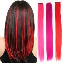 Наращивание синтетических волос на клипсе длинные прямые накладные