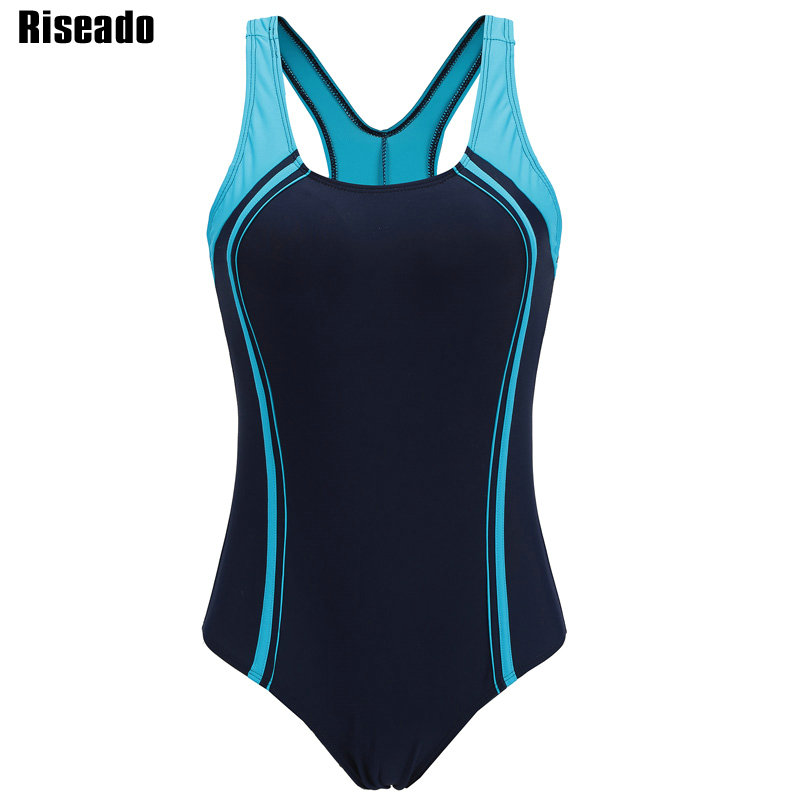 Riseado Swimming Suits for Women Competitive Swimwear Women One Piece Swimsuit 2020 Patchwork Racer Back Bathing Suits(China)