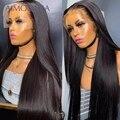 Прямой парик 13x4, парик из человеческих волос на сетке спереди, парик без клея, бразильский парик плотности 250, предварительно выщипанный пар...