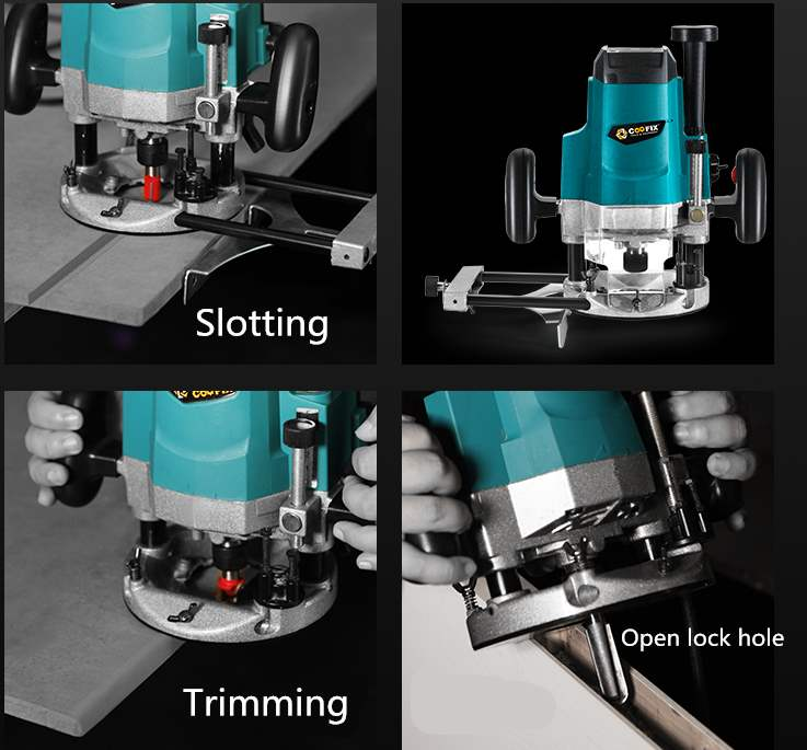 Mini electric wood router multi function trimmer carving wood milling machine 220V 1800W - 2