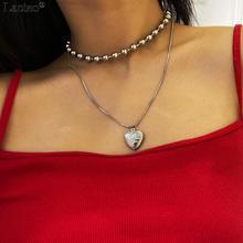 Lacteo Korea Cute Openable Love Heart Pendant Necklace Jewelry Women 2020 Fashion Double Layer Silver Bead Chain Choker Necklace