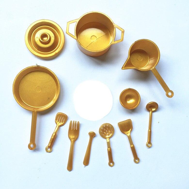 10pcs/set Mini Tableware 1:12 Dollhouse Miniature Figure Fork Pot Kitchen Food Toys Decor Accessories Dolls Pretend Play Toys Go