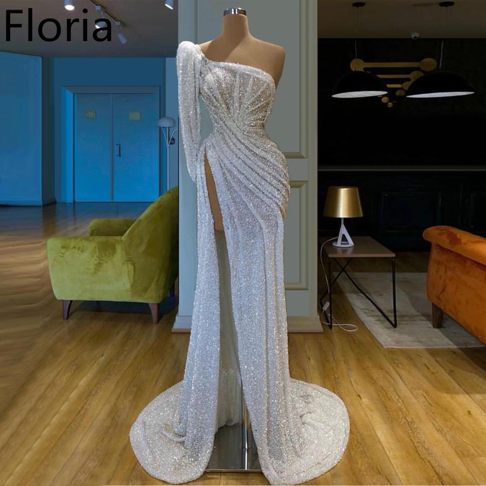 Dubai Style White Glitter Prom Dress Long One Shoulder Muslim Mermaid Evening Party Gowns Celebrity Runaway Red Carpet Dress