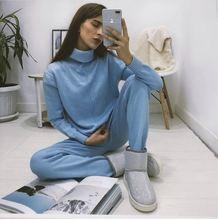Hlbcbg 2020 Стильный вязаный костюм женский Повседневный однотонный