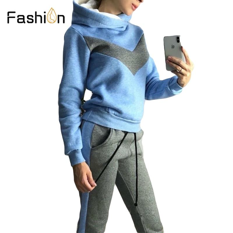 2019 Winter Sports Hoodies Suits Women Running Sportswear Hoody Tracksuit Women Clothing Patchwork Fleece Sweat Pant Suit Autumn