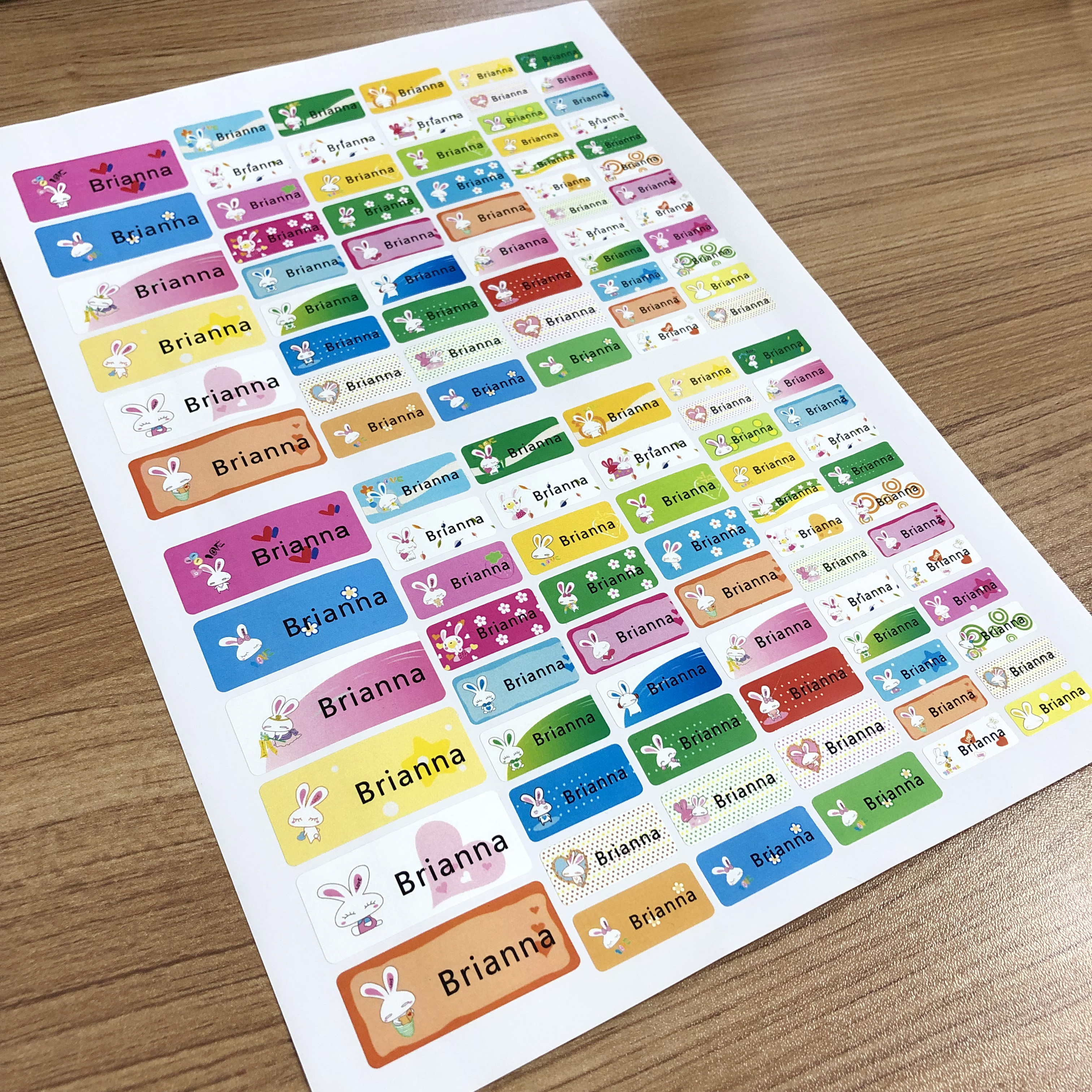 108Pcs Personalized Name Stickers Waterproof Cartoon Bunny Pattern Customize Tag Sticker Children School Stationery Decals Label