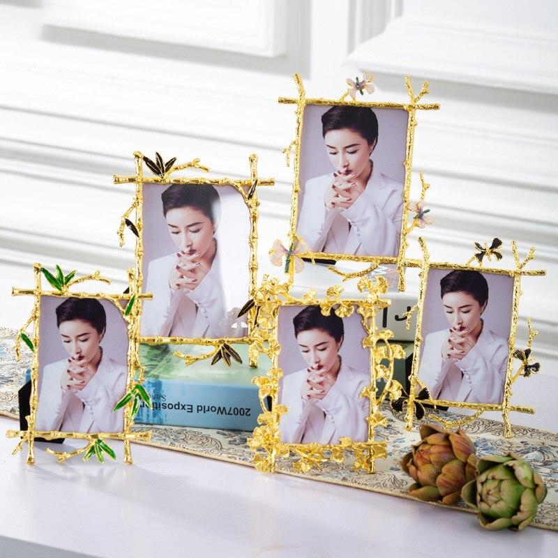 8x10 Picture Frame Golden Ginkgo Leaf Decorative Photo Frame Metal Gold Frames for Pictures Family Portrait Desk Decoration