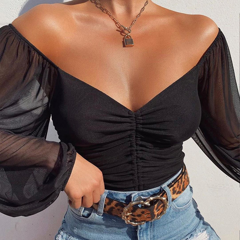 Cryptographic Drawstring Ruched Sexy Blouse Women Puff Sleeve Off Shoulder Sheer Female Tops and Blouses Shirts Short Streetwear