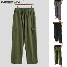 INCERUN New Fashion Winter Men's 2020 Trousers Elastic Waist Large Pocket Retro Cotton Overalls Solid Color Loose Casual Pants