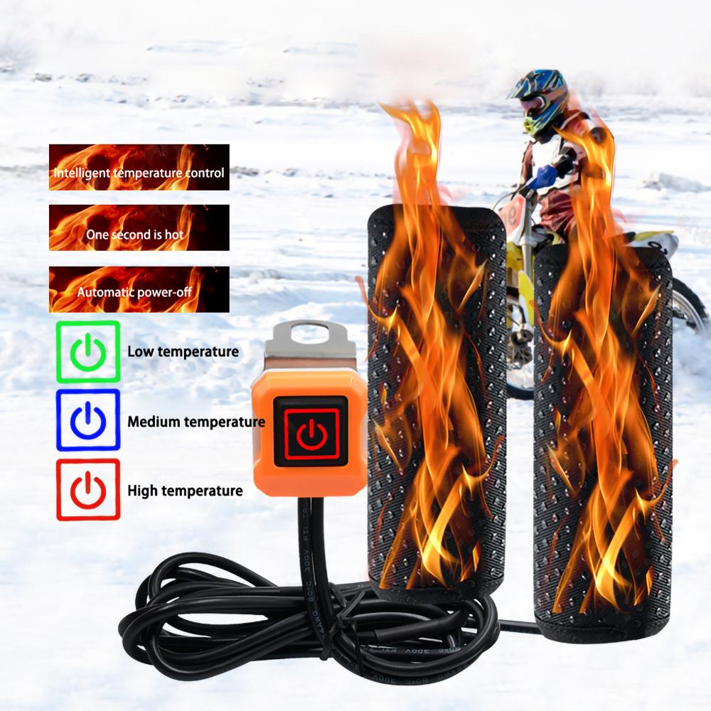 12V Motorcycle Lntelligent Temperature Control Third Gear Heated Grips Inserts Handlebar Hand Warmer Universal Grip ATV Bike