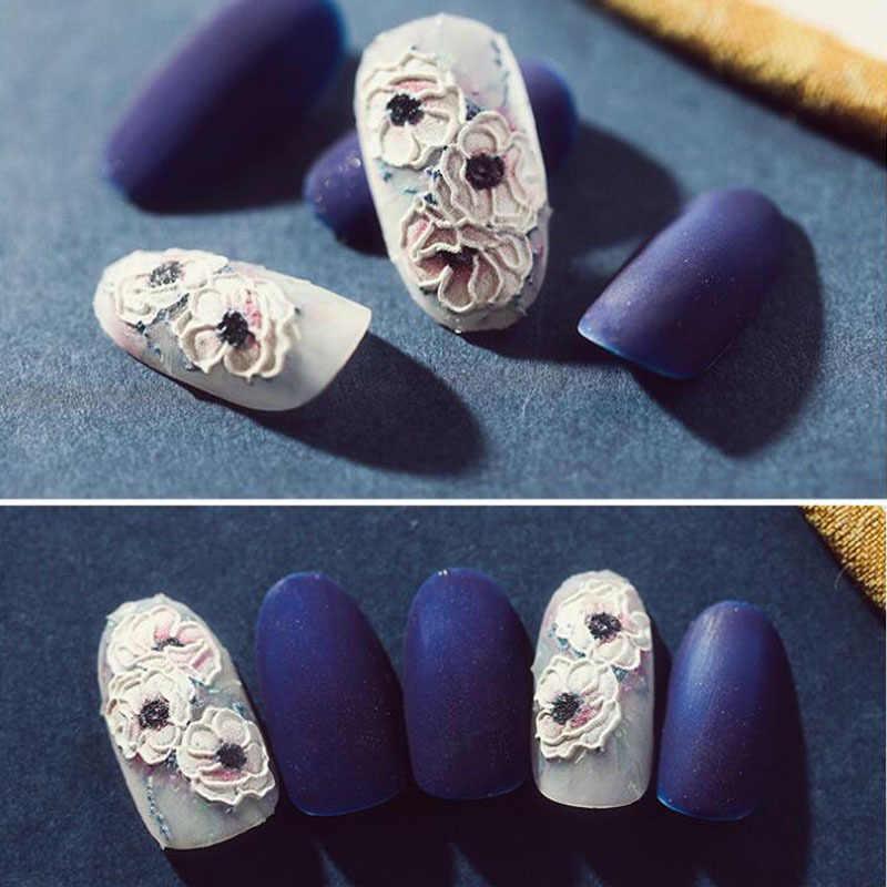 1pc 3D 아크릴 새겨진 된 꽃 네일 스티커 양각 된 꽃 손톱 물 슬라이드 데 칼 패션 손톱 물 데 칼 Empaistic 손톱