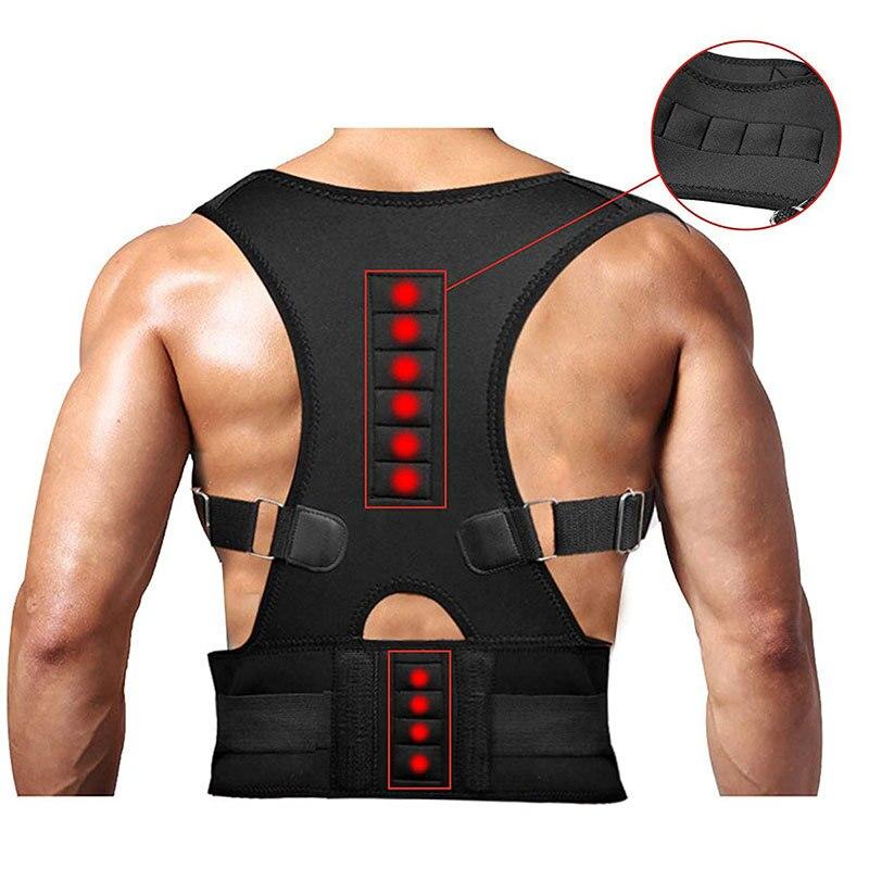 Магнитная терапия Brace Регулируемый Корректор осанки плечо поддержка спины пояс снимает боль в спине шеи позвоночника черный XXL