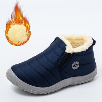 2020 buty zimowe damskie wodoodporne buty śnieżne damskie płaskie buty zimowe na co dzień botki damskie plus rozmiar buty dla par tanie i dobre opinie 柏芮伦 CN (pochodzenie) ANKLE Szycia Stałe Dla dorosłych Mieszkanie z Buty śniegu Krótki pluszowe Okrągły nosek