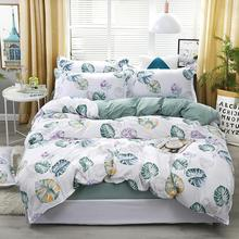 Bedroom bedding, flower and green leaf printing duvet cover, single and double large king quilt cover (3-4 piece set)