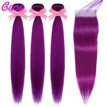 Burmese straight hair bundles with 4x4 lace closure purple h