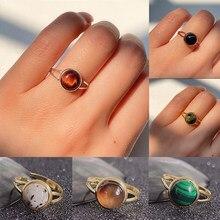 Charme pedra natural anel aberto para as mulheres artesanal boêmio jóias presente cristal moonstone ágata casamento anel de festa ajustável