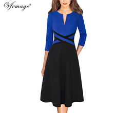 Vfemage Womens Autumn Long Sleeve Front Zipper Pockets Casual Work Business Office Party Fit and Flare Skater A Line Dress 671C