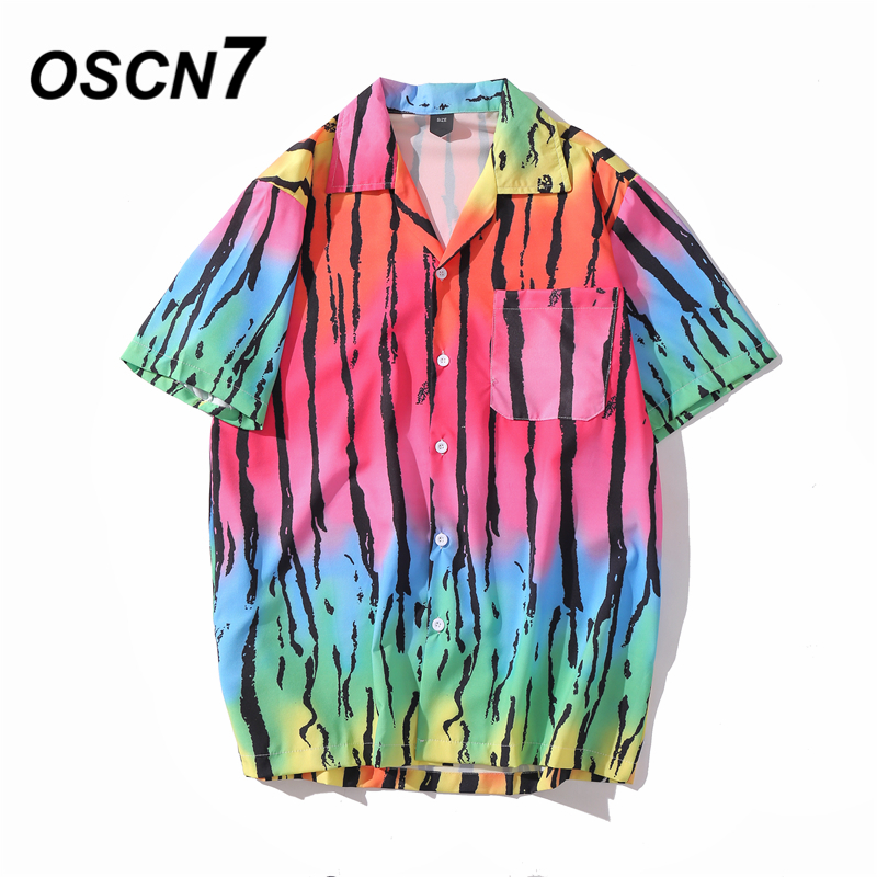 OSCN7 Casual Printed Short Sleeve Shirt Men Street 2020 Hawaii Beach Oversize Women Fashion Harujuku Shirts For Men XQ62