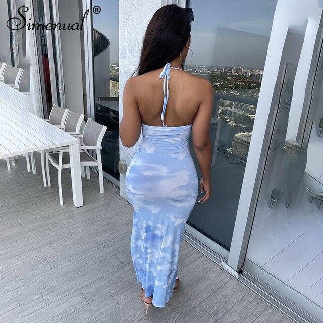 Simenual Tie Dye Drawstring Side Slit Women Maxi Dresses Strap Sleeveless Party Club Fashion Slim Backelss Bodycon Halter Dress 2