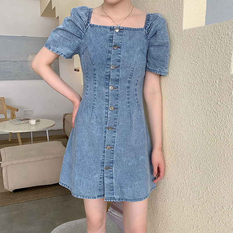 Vintage High Waist Dress Woman Elegant Denim Summer 2020 New Temperament Mini Dresses Womens Korean Fashion Student Short Sleeve