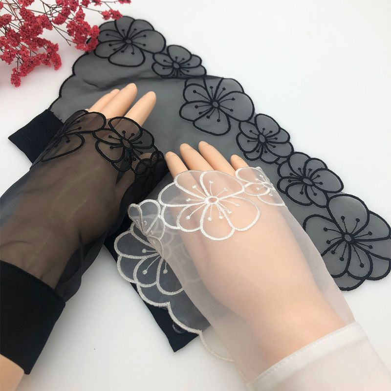 Korean Women Sheer Decorative Horn Cuffs Embroidered Hollow Out Round Floral Patterned Detachable Sweater Fake Sleeve