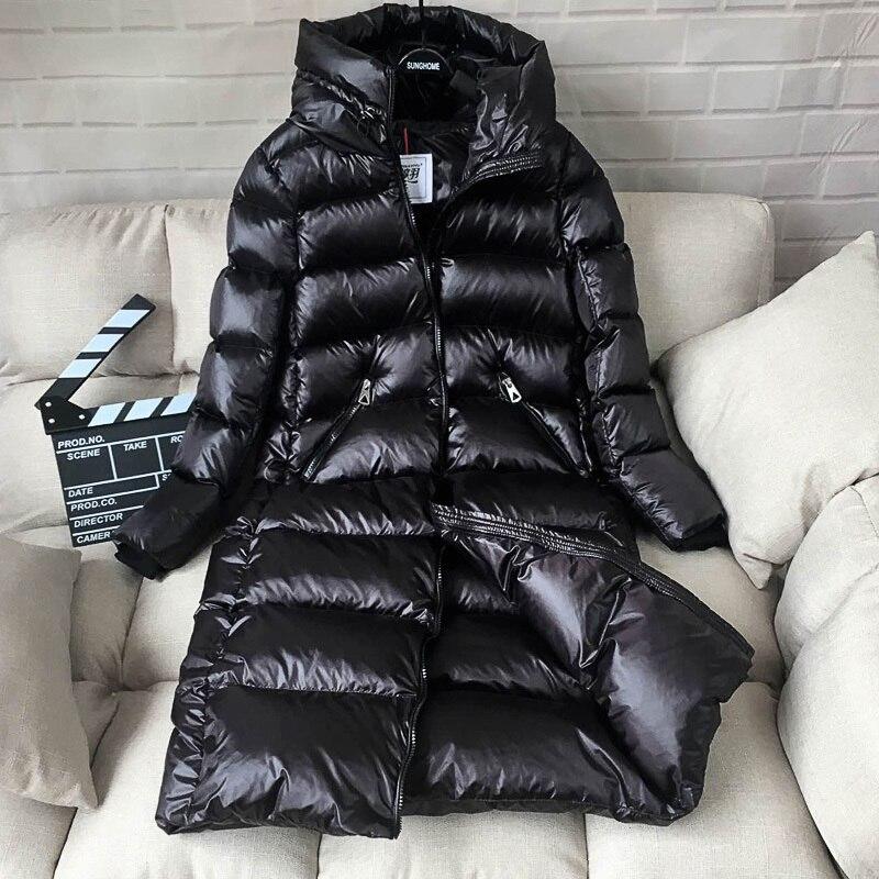 White Duck Down Jacket Women Thick Long Winter Coat Women Hooded Korean Female Puffer Jacket Doudoune Femme KJ727