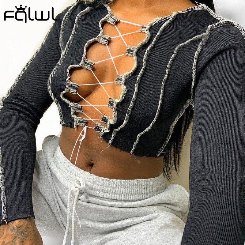 FQLWL Rippen Stricken Spitze Up Langarm Crop Top Frauen T Shirt Street Bodycon Gestellte Weiblich T-shirt Bandage Aushöhlen t-Shirt