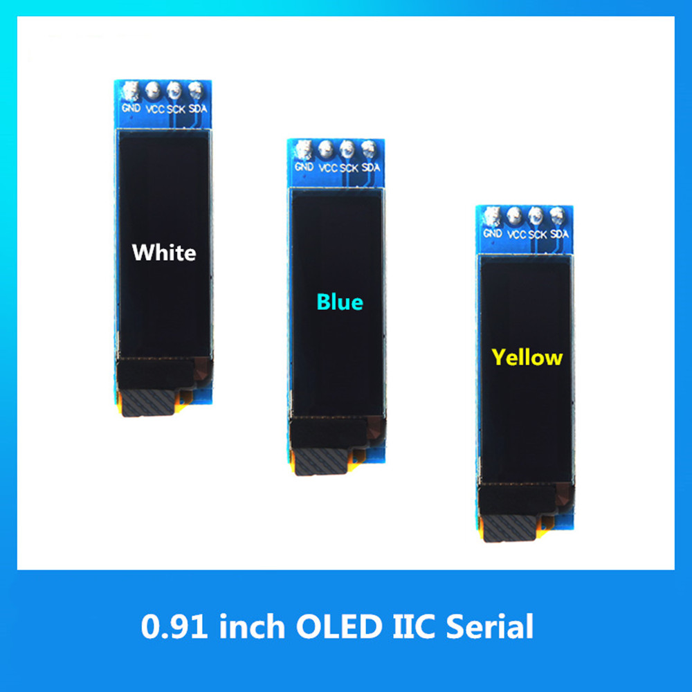 "0.91 Polegada módulo oled 0.91 ""branco/azul/amarelo 128x32 oled lcd display led módulo iic comunicar"