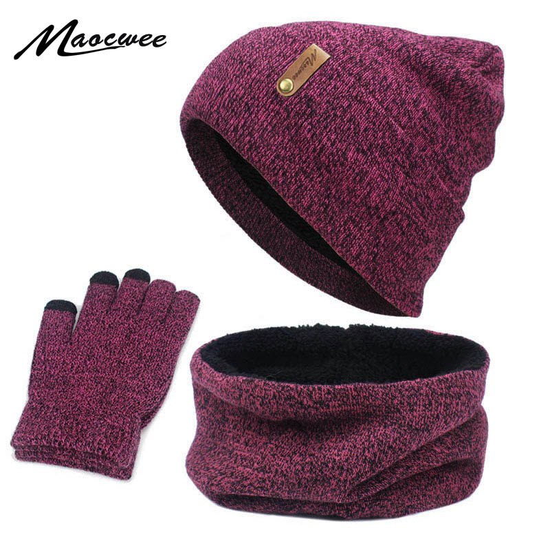 New Knitted Scarf Gloves Hat Set Female Circle Neck Screen Touch Finger Warm Beanie Scarves Glove Cotton Three-piece Warm Set