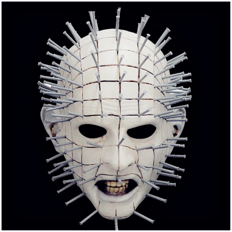 Hellraiser Pinhead Latex Mask MEZCO Three Zero Pinhead Sideshow Hood Overhead Latex Halloween Scary Horror Game Cosplay costume image