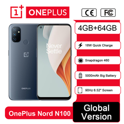Global Version OnePlus Nord N100 4GB 64GB Smartphone Snapdragon 460 90Hz 6.52' Screen 13MP Triple 5000mAh 18W Flash Charge phone