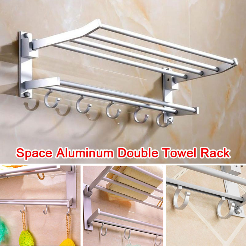 Towel Bar Aluminum Bathroom Foldable Double Towel Rack Towel Rack Punching 5 Hooks Decor Kitchen Hook Toilet Wall Mount Home