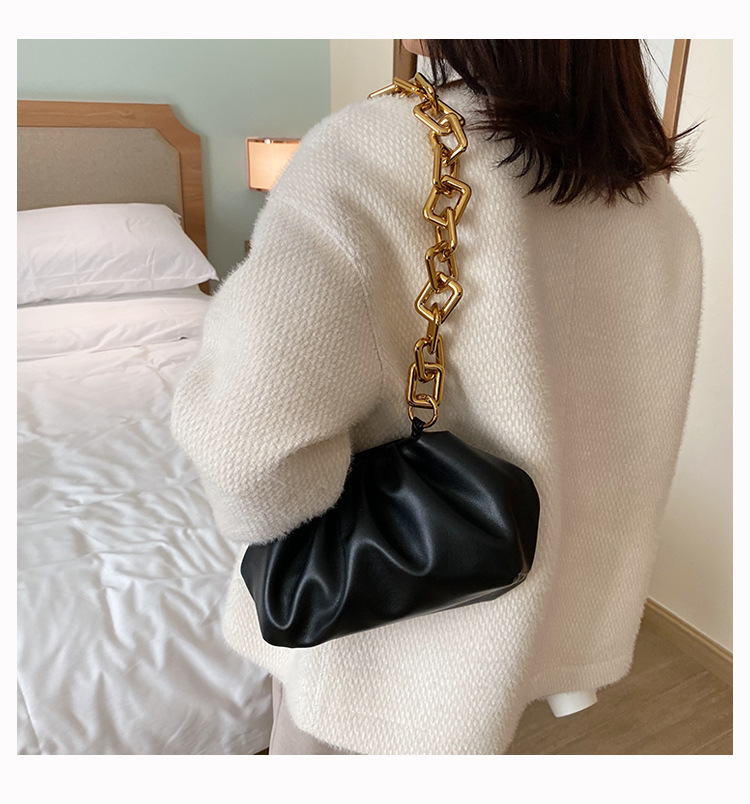 Ha0f2859564074508a8269e21aa8519e6y - Women's Personality Thick Chain Soft Leather Cloud Bag Casual Wild Shoulder Bag Party Evening Clutch Bag Fashion Dumplings Bag