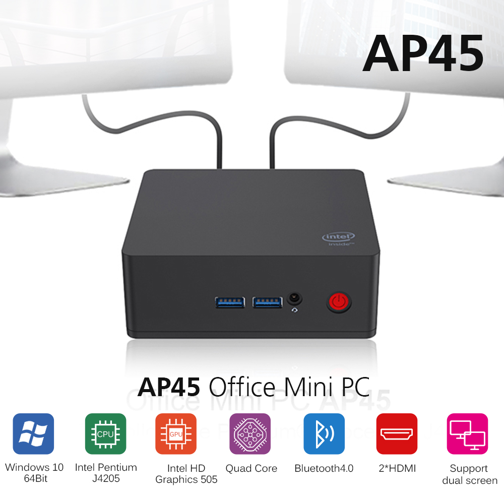 AP45 Office Mini PC Intel Apollo Lake J4205 Intel HD Graphics 505 Win10 8GB 256/512GB ROM 2.4G+5.8G WiFi 1000Mbps BT4.0 Mini PC