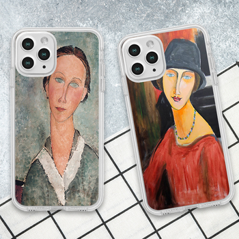 modigliani paintings phone case for iphone 12 pro max 7 8 plus 11 pro max xr xs max x clear soft silica Cover image