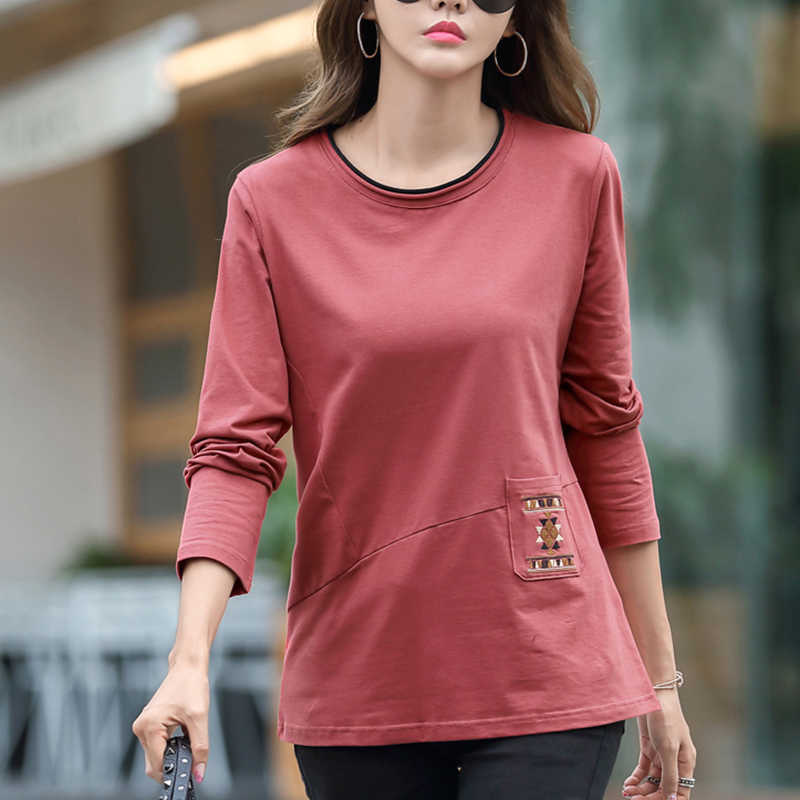 Tasche Stickerei T Hemd Frauen 2020 Lange Hülse Lose Frau Kleidung Baumwolle Casual T-Shirt Weibliche Poleras Mujer De Moda 2019
