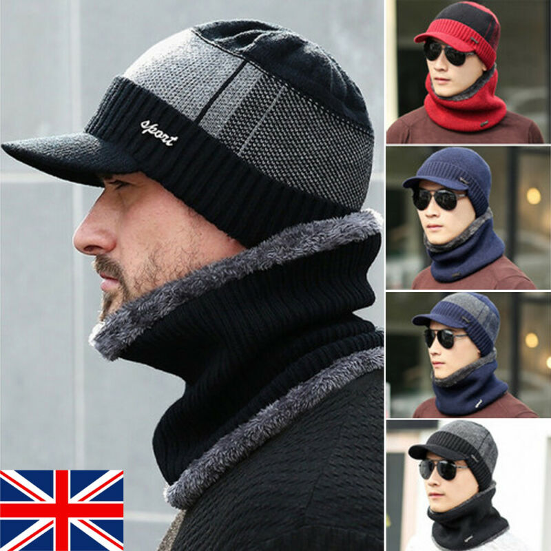 Men's Hat Autumn And Winter Warm New Fashion Comfortable Hat Winter Mens Hat And Scarf Warm Knit Cap And Scarf Outdoor Visor