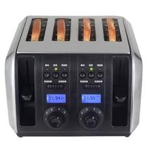 Профессиональный тостер 4 шт. светодиодный дисплей тостеры печь выпечки кухонных приборов завтрак хлеб машина для производства сэндвич быстро защитный