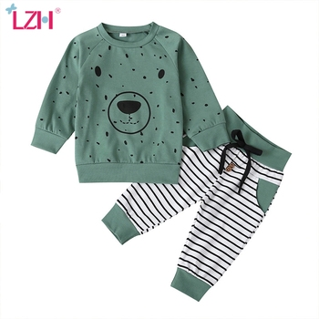 Toddler Boys Clothing Sets 2020 Autumn Winter Kids Baby Boys Clothes Casual  T-Shirt+Striped Pants Outfits Children Clothing Suit-Leather bag