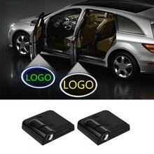 Luz LED para puerta de coche, proyector con logotipo, lámpara de cortesía para Mercedes Benz W205, W211, W124, W210, W204, W203, C260, A, B, C, E, M, CLA, CLC, CLS, clase