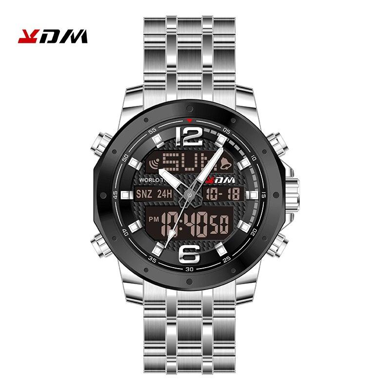 Kol Saati часы для мужчин двойной дисплей reloj hombre кварцевые цифровые Relogio Masculino Нержавеющая сталь ремешок Сплав спортивный Montre Homme - 3