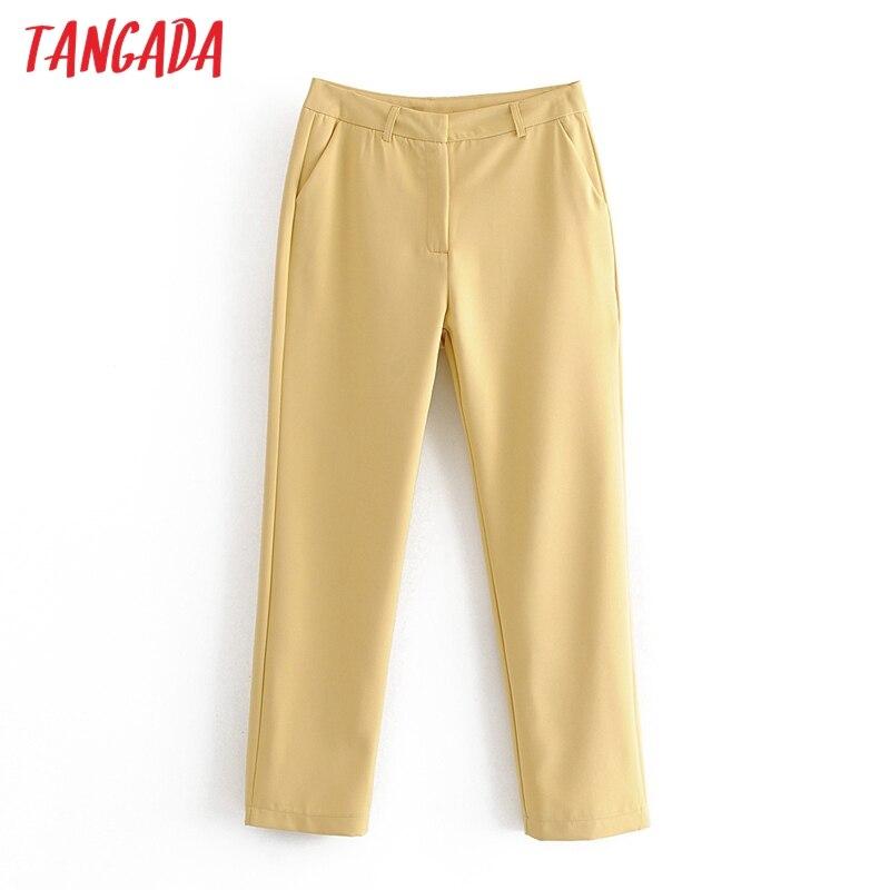 Tangada 2020 korean fashion women candy color suit pants trousers pockets buttons office lady pants pantalon DA78