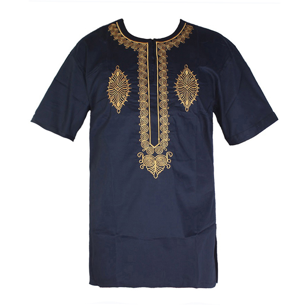 Newest Islam Wear Africa Clothes Bazin Bilateral Symmetry Embroidery Mens Dashiki Tops African Kaftan Tunic Clothing Футболки