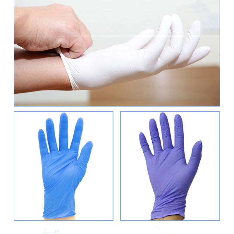 60Pcs Disposable Nitrile Rubber Gloves S M L Anti Dust Household Gloves Universal Cleaning Random Color